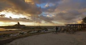 salthaltig solnedgång Arkivbilder