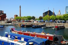 Salthouse Dock, Liverpool. View across Salthouse Dock towards the Liver Building and The Pumphouse, Liverpool, Merseyside, England, UK, Western Europe Royalty Free Stock Photo