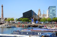 Salthouse Dock, Liverpool. View across Salthouse Dock towards the Liver Building and The Pumphouse, Liverpool, Merseyside, England, UK, Western Europe Stock Photo