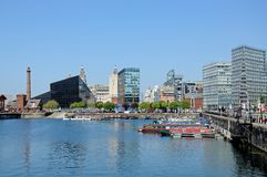 Salthouse Dock, Liverpool. View across Salthouse Dock towards the Liver Building and The Pumphouse with modern city buildings to the right hand side, Liverpool Royalty Free Stock Photo