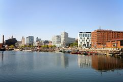 Salthouse Dock, Liverpool. View across Salthouse Dock towards the Liver Building and The Pumphouse with modern city buildings to the right hand side, Liverpool Royalty Free Stock Photos