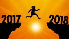 Salti al nuovo anno 2018 al tramonto, vettore Fotografia Stock