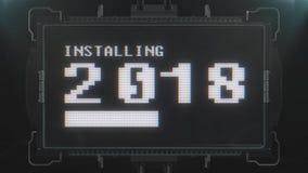 Salti il retro videogioco variopinto che carica il testo 2018 sul ciclo senza cuciture della TV di impulso errato di interferenza illustrazione di stock
