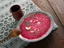 Red Beet Soup With Egg And Sour Cream. Horizontal Top View Stock Photo ...