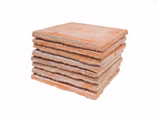 Saltillo tiles. Used saltillo tiles isolated - recycled building materials Royalty Free Stock Photo