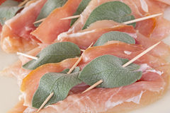 Saltimbocca with chicken meat Stock Photography