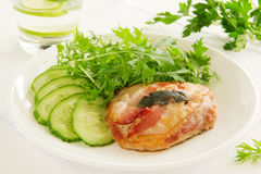 Saltimbocca. With cucumber salad and mint Royalty Free Stock Photo