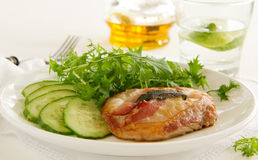 Saltimbocca. With cucumber salad and mint Stock Image