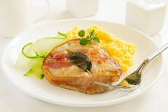 Saltimbocca. With cucumber salad and mint Stock Photography