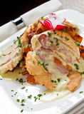 Saltimbocca. Delicious Chicken Saltimbocca with prosciutto and cheese sauce. More yummy pics in my gallery Stock Image