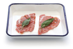 Saltimbocca ingredients on butcher tray Royalty Free Stock Image