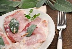 Saltimbocca , Typical roman dish, closeup Royalty Free Stock Photo
