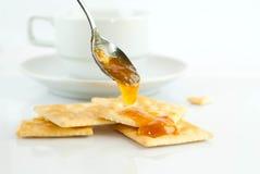 Saltine crackers and jam Royalty Free Stock Photos