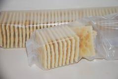 Saltine crackers in plastic wrap Stock Image