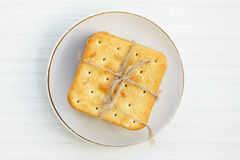 Saltine crackers on a plate Royalty Free Stock Photo