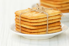 Saltine crackers on a plate Stock Images