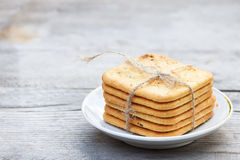Saltine  crackers on a plate. Stock Images