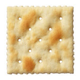 Saltine soda cracker isolated on white Royalty Free Stock Photos