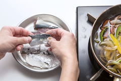 Salting sardine fish for cooking in the kitchen Royalty Free Stock Photos