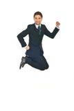Salto acertado del hombre de negocios Fotografía de archivo