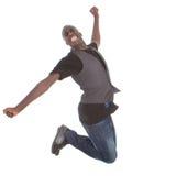 Salto afroamericano joven del adolescente Foto de archivo libre de regalías