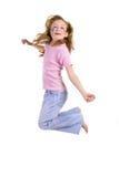 Salto, alegría, menor Foto de archivo libre de regalías