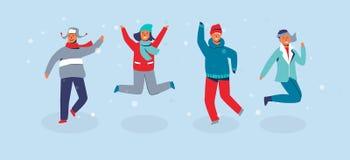 Salto alegre dos amigos dos caráteres Povos na roupa morna em férias felizes do inverno Homem e mulher que têm o ar livre do dive ilustração do vetor
