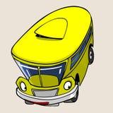 Salto amarelo do divertimento do ônibus do personagem de banda desenhada Foto de Stock Royalty Free