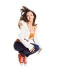 Salto atlético de la muchacha Imagen de archivo