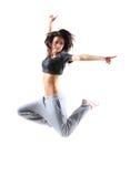 Salto bastante moderno del adolescente del estilo del hip-hop Imagenes de archivo