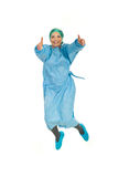 Salto bem sucedido da mulher do cirurgião Fotografia de Stock