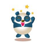 Salto bonito do caráter do urso dos desenhos animados de Panda Activity Illustration With Humanized entusiasmado e ectático ilustração do vetor