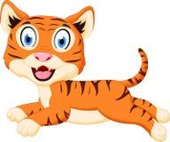 Salto bonito dos desenhos animados do tigre Fotografia de Stock Royalty Free