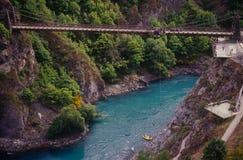 Salto bungy da ponte de Kawarau Fotografia de Stock