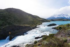 Salto Chico waterfall view, Torres del Paine, Chile. Salto Chico waterfall view, Torres del Paine National Park, Chile. Chilean Patagonia landscape royalty free stock images