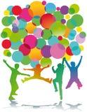 Salto colorido das silhuetas das crianças Imagens de Stock Royalty Free