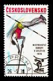 Salto con l'asta, serie atletico europeo di campionati, circa 1978 Fotografia Stock Libera da Diritti