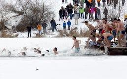 Salto da água fria do dia do esmagamento Foto de Stock