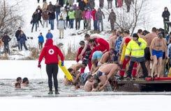 Salto da água fria do dia do esmagamento Fotos de Stock Royalty Free