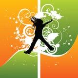 Salto da silhueta da menina da alegria Fotos de Stock Royalty Free