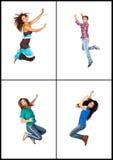 Salto de cuatro personas jovenes Fotografía de archivo