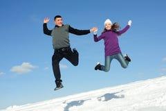 Salto de dois adolescentes imagem de stock royalty free