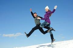 Salto de dois adolescentes imagens de stock royalty free