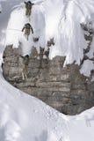 Salto de esqui de um penhasco no pó profundo Foto de Stock