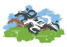 Salto de la carrera de caballos sobre obstáculo libre illustration