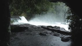 Salto de La Leona Waterfall, Chile. Salto de La Leona waterfall, located in the Huilo-Huilo Biological Reserve in southern Chile`s Lakes District stock video footage