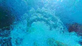 Salto de la muchacha debajo del agua en pulgares de la piscina y de la demostración para arriba almacen de metraje de vídeo