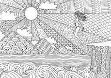 Salto de la muchacha del bikini ilustración del vector