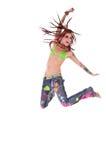 Salto de la muchacha del Hippie de Dreadlocks Fotografía de archivo