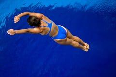 Salto de la muchacha en la piscina -3 Imagen de archivo